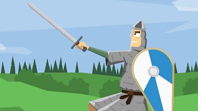 A Norman soldier wearing chain mail and carrying a sword and shield