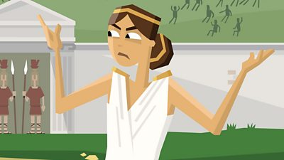 An Ancient Greek woman shrugging.