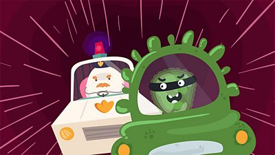 A white blood cell dressed as a police man chases a germ cell.
