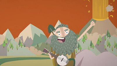 Emmet rocking out on his banjo in front of erupting volcanoes.