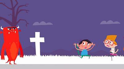 Children running away from monster