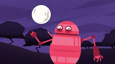 A pink robot in the moonlight