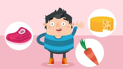 Boy with cheese, carrot and meat