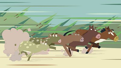 A group of prehistoric horses having a race.