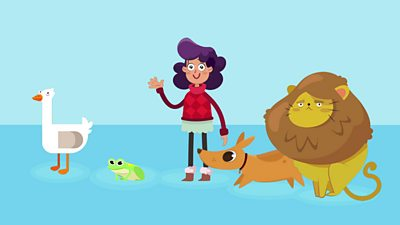A young girl waving alongside some different vertebrates.
