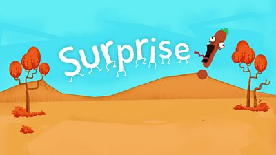 An exclamation mark character scaring the word 'Surprise'