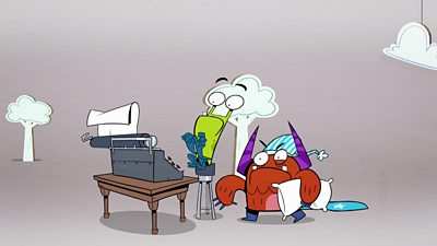 two monsters at a typewriter