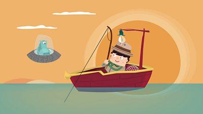 A man fishing beside an alien spaceship.