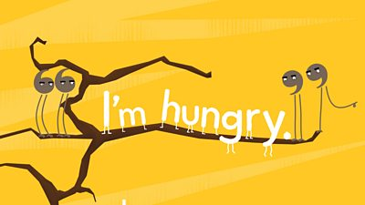 "Inverted comma characters either side of the words ""I am hungry"""