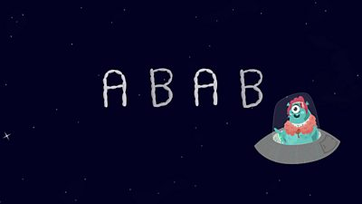 an alien in a spaceship next to the letters 'A B A B'