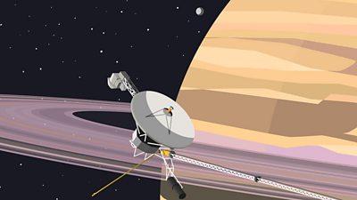 A space probe orbiting Saturn