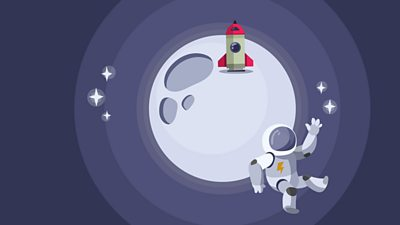astronaut and a rocket on the moon