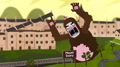 A scary yeti on a Yorkshire hill lifting the roofs off houses.