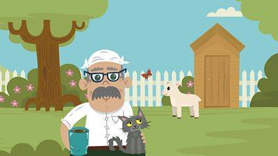 Grandad in the garden with his cat