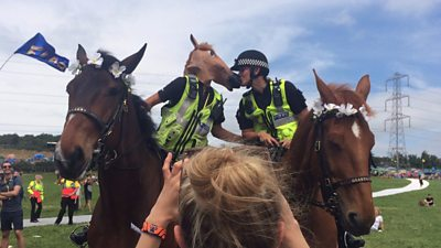 The true keepers of the Glastonbury spirit? The police!