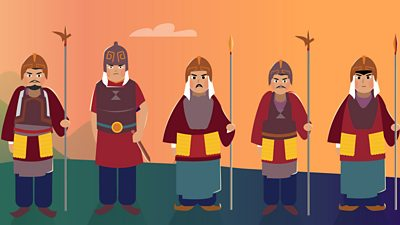 five soldiers with ancient Chinese weapons