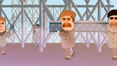 Men and steel beam