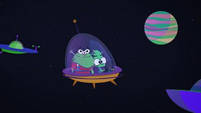 Snoot and Fin in a spaceship - animation