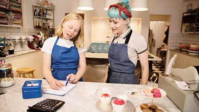 Cashing up the till in a bakery
