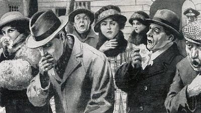 A drawing of smartly dressed people suffering from influenza in 1918