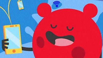 Cartoon character holding a phone with internet access