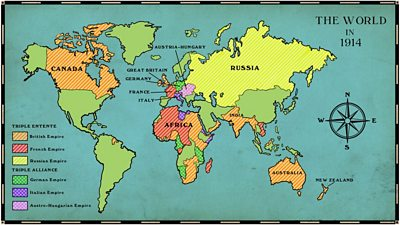 A colourful world map showing European countries and their empires in 1914