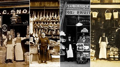 A montage of shopkeepers selling meat, groceries and vegetables in the early 1900s