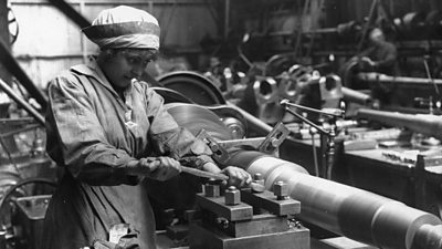 A woman at work in an armaments factory during World War One
