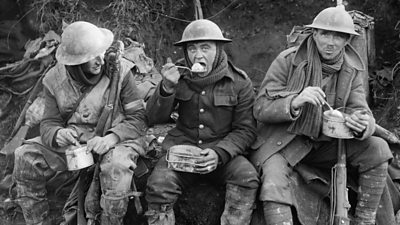 British soldiers eating rations during the Battle of the Somme in October 1916