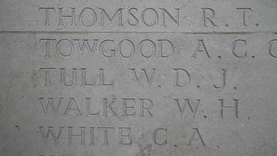 Walter Tull's name inscribed on the Arras Memorial