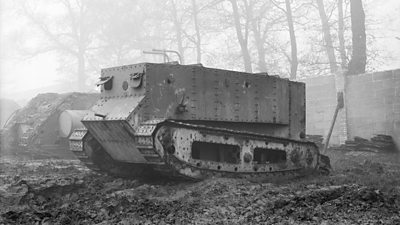 The experimental World War One tank Little Willie on its first trial run in Lincoln
