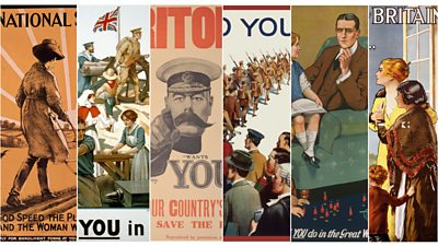 A collage of World War One era recruitment posters