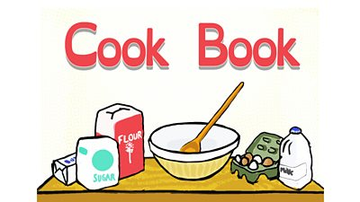 "Book cover with title ""Cook Book"" and images of ingredients."