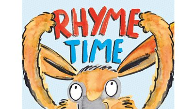 "Book cover with title ""Rhyme Time"" held by rabbit-like creature"