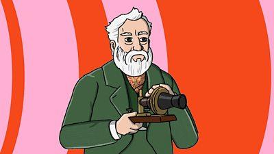 Alexander Graham Bell - holding image - multicolour