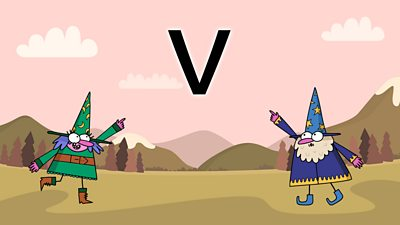 Two wizards on a colourful background looking at the letter v