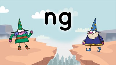 Two wizards on a colourful background looking at the letters ng