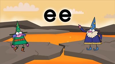 Two wizards on a colourful background looking at the letters ee