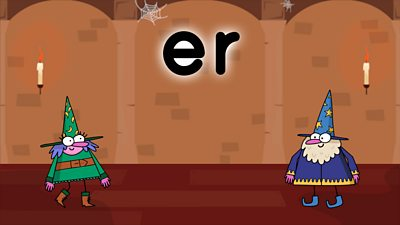Two wizards on a colourful background looking at the letters er