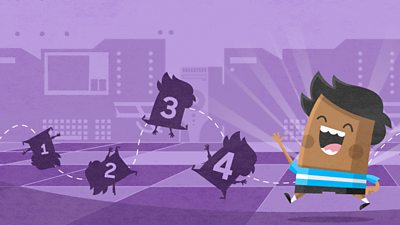 boy with purple background and silhouette of bouncing figures 1-4