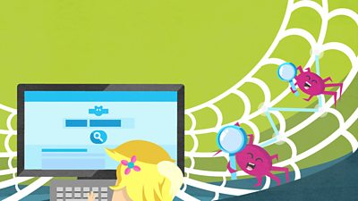 Girl using search engine with spiders holding magnifying glasses crawling over a web.