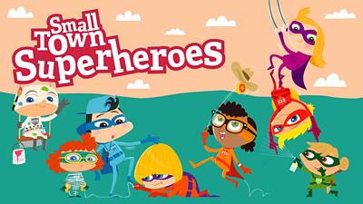 Promo image for the Bitesize KS1 English game Small Town Superheroes