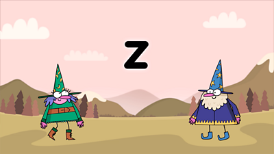 Two wizards use their magic to teach the phoneme 'Z'.