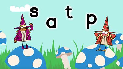 Giant toadstools, two wizards, purple and red, with letters s, a, t, p, Phase 2 Set One