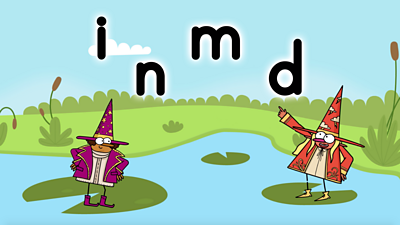 Pond, two wizards, purple and red, with letters i, n, m, d, Phase 2 Set Two