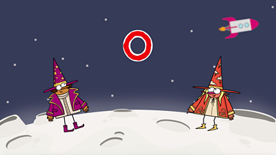 On the moon, two happy wizards, one purple, one red, stand next to the letter 'o'