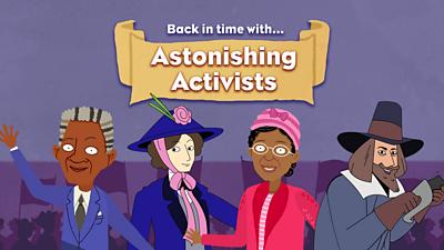 Activists game title with Nelson Mandela, Emmeline Pankhurst, Rosa Parks and Guy Fawkes