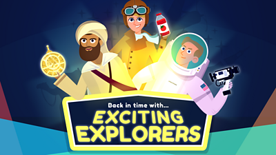Explorers game title screen with Ibn Battuta, Amelia Earhart, Neil Armstrong