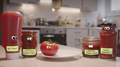 Different tomato based products for BBC Bitesize Food Processing guide.