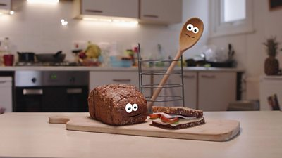 Bread, sandwich and wooden spoon for Bitesize Primary Food Waste guide